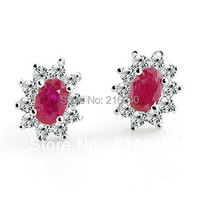 Free Shipping Natural Ruby Princess Stud Earrings In 925 Sterling Silver Classic Elegant Girl Valentine Birthstone Gift se0026r