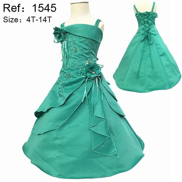 Hot Sale 2017 New Arrival 2-14 anos As Crianças Vestidos de Noite cetim Bordado Hortelã Vestidos Da Menina de Flor Para casamentos Partido Da Criança vestido