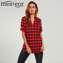 Meaneor Women 3/4 Sleeve V-neck Plaid Shirt Loose Fit Casual