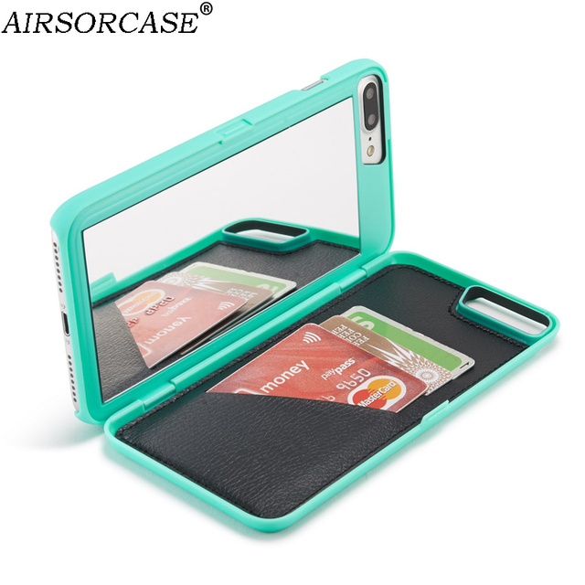 promo code a96cd dd434 US $9.98 |For Apple iPhone 7 8 Plus Mirror Case 7Plus 8Plus Wallet Card  Back Cover Girl Mirror Phone Cases for iPhone8 8Plus Woman Bags-in ...