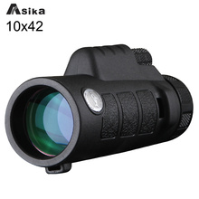 Discount! Asika Green/Black Telescope Monocular 10×42 With Bak4 Prism Waterproof Monoculars Outdoors for Camping Hunting Goods