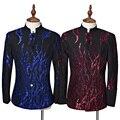 (Jakcet + calça) terno masculino traje cantor partido prom moda Homem blazer azul anfitrião Preto padrão de Lantejoulas estágio dançarina vermelho