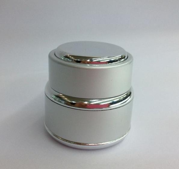 цена на 30g silver glass cream jar packing bottle with silver decorative hem,Cream box / bottle