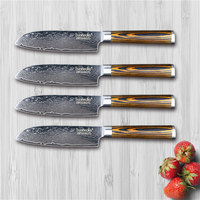 SUNNECKO 4 x 5 Santoku Knife Damascus Steel Kitchen Knives Japanese VG10 Blade Pakka Wood Handle High Quality Chef Cutter Knife