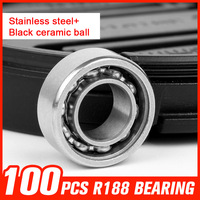 100pcs R188 Black Ceramic Ball Bearings Stainless Steel Bearing For Multi Color Triangle Gyro Hand Spinner