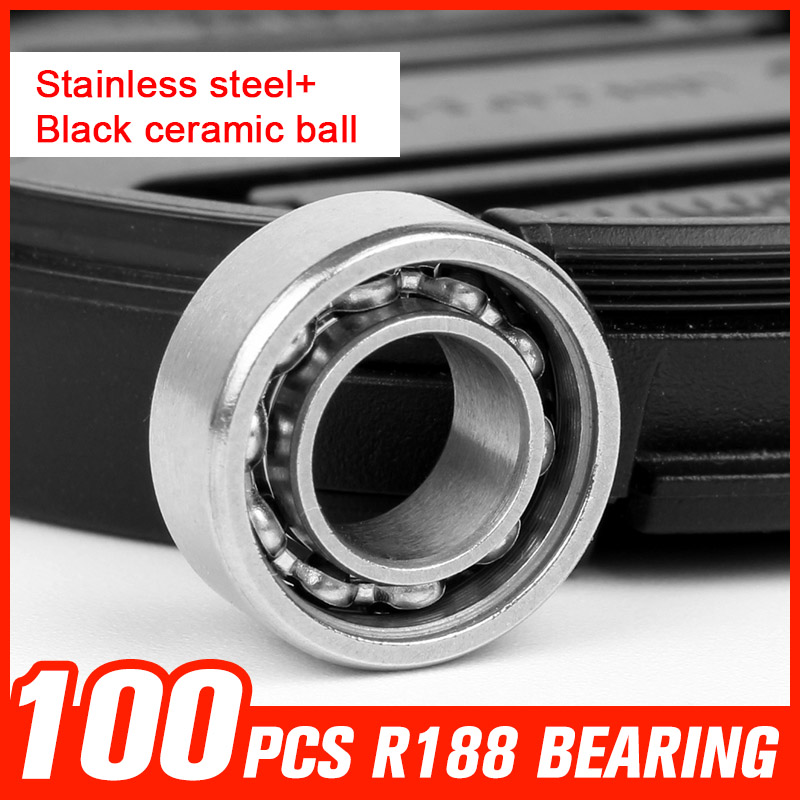 100pcs R188 Black Ceramic Ball Bearings Stainless Steel Bearing for Multi Color Triangle Gyro Hand Spinner Tool Accessories 1000pcs 688 bearings ceramic beads bearing for gyro rotary machine precision reducer automotive lights shaft tool accessories