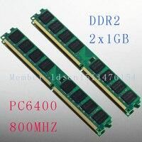 NEW 2X1GB 1GB PC2 6400 DDR2 800 800Mhz 240pin DIMM Dekstop Memory DDR2 Low Density RAM