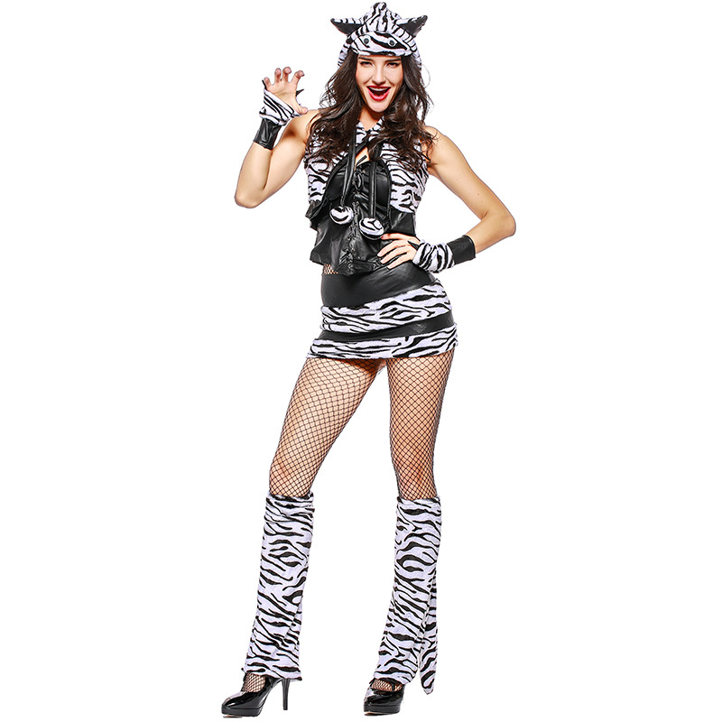 Full Set Adult Womens Sexy White Tiger Animal Theme Halloween Cosplay Costume-In Sexy -3535
