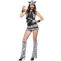 Volledige Set Adult Womens Sexy Witte Tijger Dier Thema Halloween Cosplay Kostuum