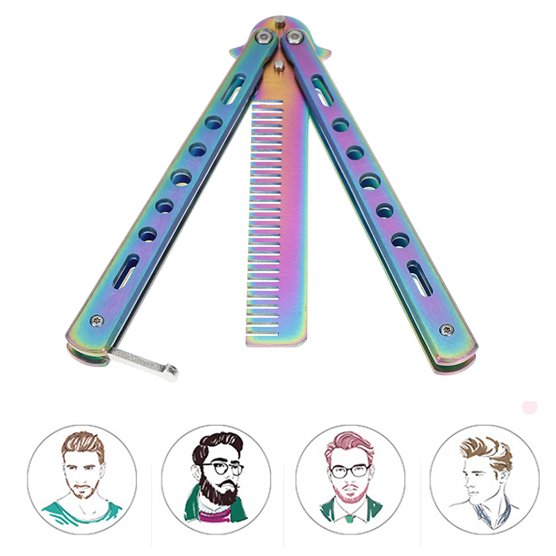 Butterfly Knife Comb Foldable Comb Stainless Steel Practice Training Beard & Moustache Brushes Hairdressing Styling Tool