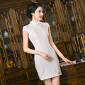 TIC-TEC women cheongsam short qipao modern chinese traditional dress oriental dresses white evening elegant party clothes P2993