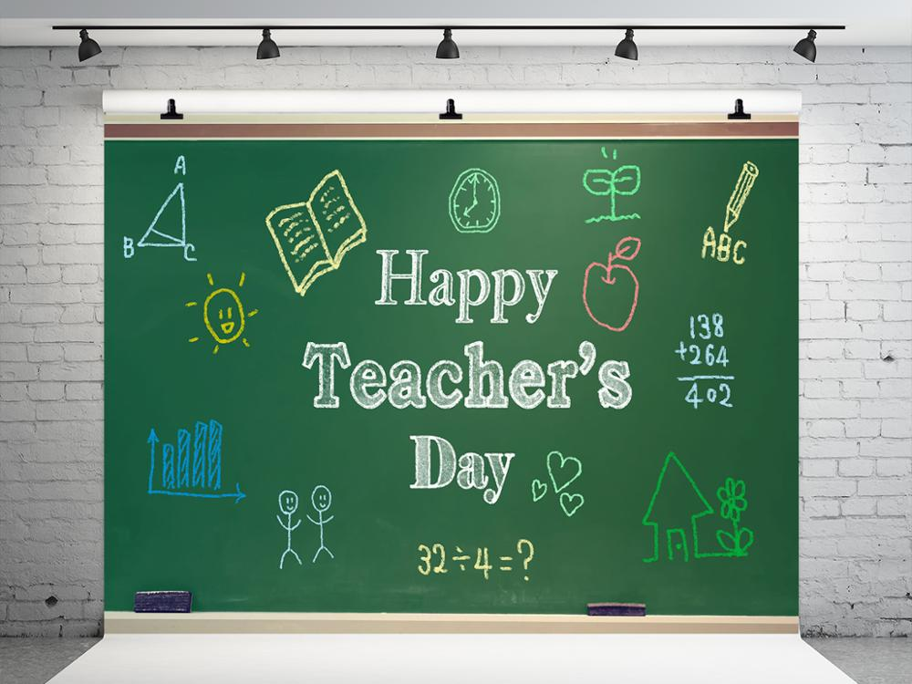 Kate 7X5FT Happy Teacher'S Day Backdrop For Photography Blackboard Baby Show Photo Backdrop Studios Drops