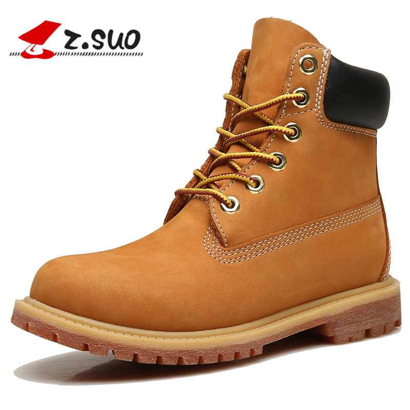 Z.SUO Classic Yellow Nubuck Leather Women Boots Fashion Leather Genuine Ankle Boots Spring Lace-up Work&Safety Shoes For Women plus size 36 46 genuine leather women ankle boots hiking shoes women work safety shoes
