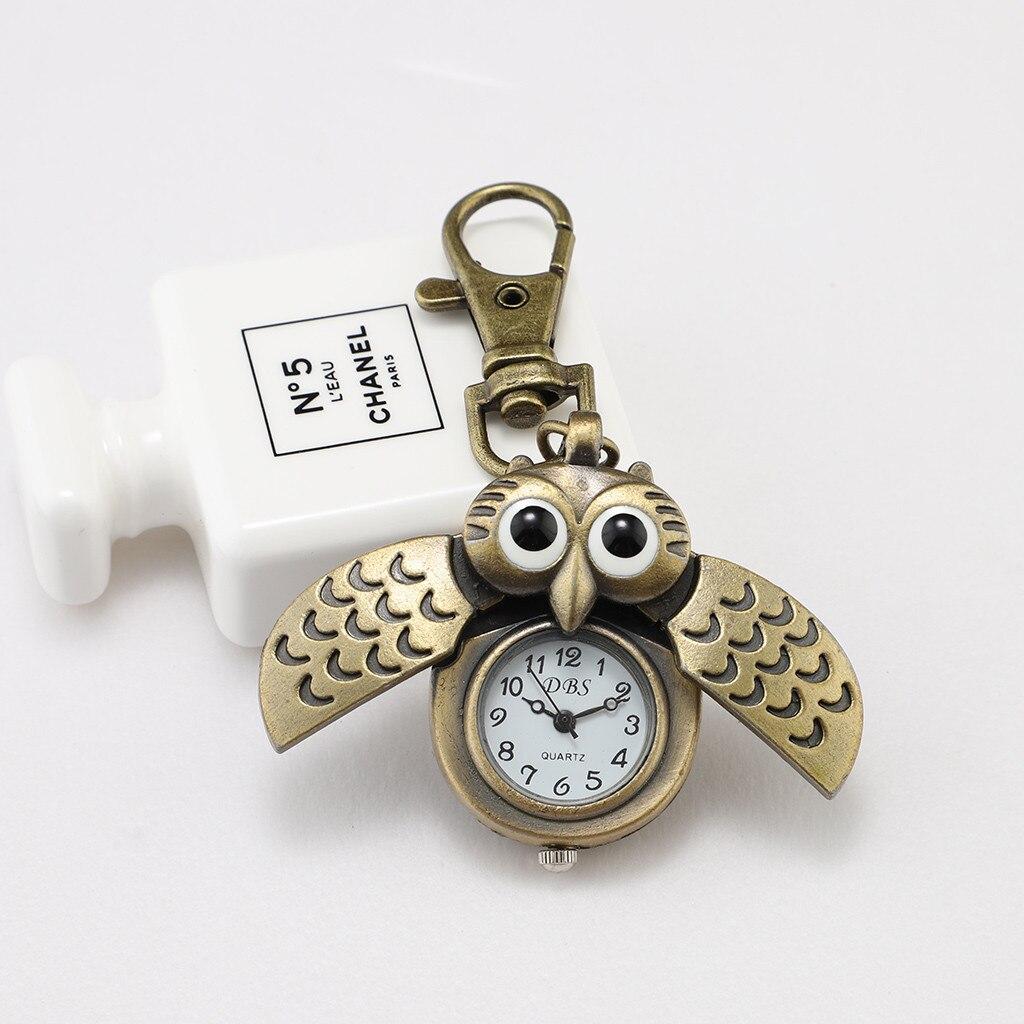 CUTE Owl Retro Watch Keychain Watch Durable And Portable Pendant Watches KID'S Gifts Quartz Watch Reloj Llavero Anahtarlık Saat