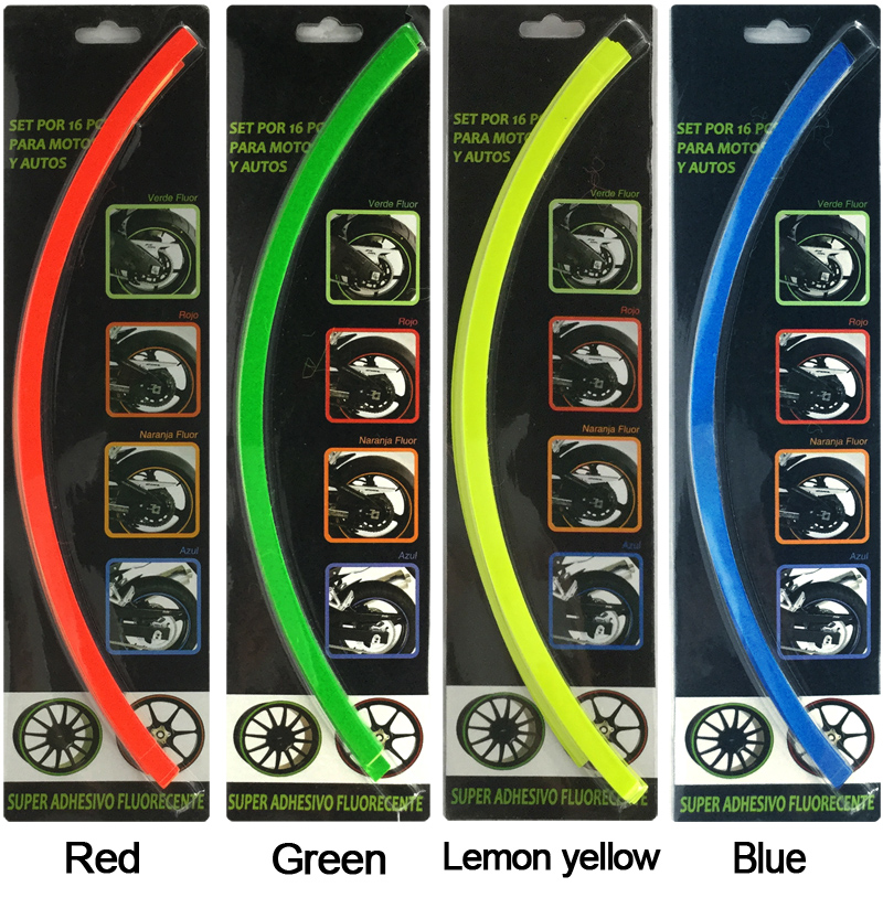 New 18 Strips 14-18 Motorcycle Car Wheel Tire Stickers Reflective Rim Tape Car Decal Tape Stickers Car Styling accessories 16 strips motorcycle accessories 7 colors car styling decals 17 or 18 inch car stickers wheel rim sticker reflective tape