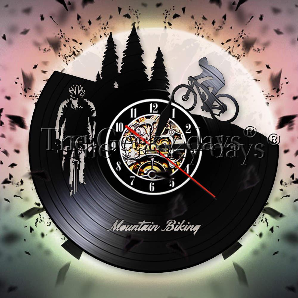 Freeride-Reloj de pared de vinilo para ciclismo, reloj de pared deportivo para motorista, decoración de pared para el hogar, regalo para ciclistas