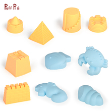 Summer Children's Soft Rubber Beach Toys Sandcastle Dredging Play Set DIY Castle Animal Combination Baby Play Beach Toys For Kid