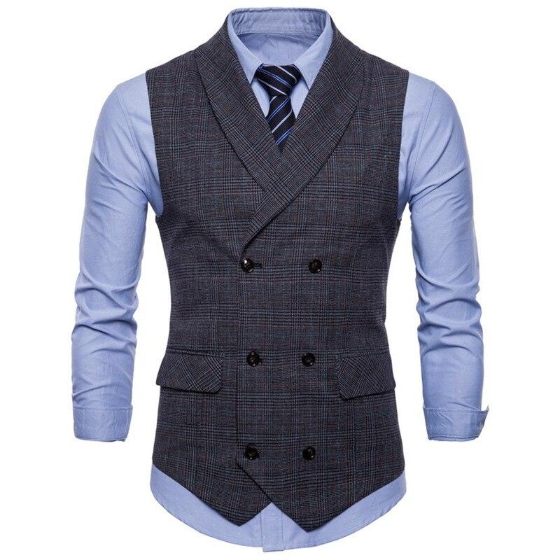 Men's Business Sleeveless Suit Vest Lapel Fashion Double-breasted Cotton Plaid Plus Size Grey Casual Slim Fit Vests For Men 4XL