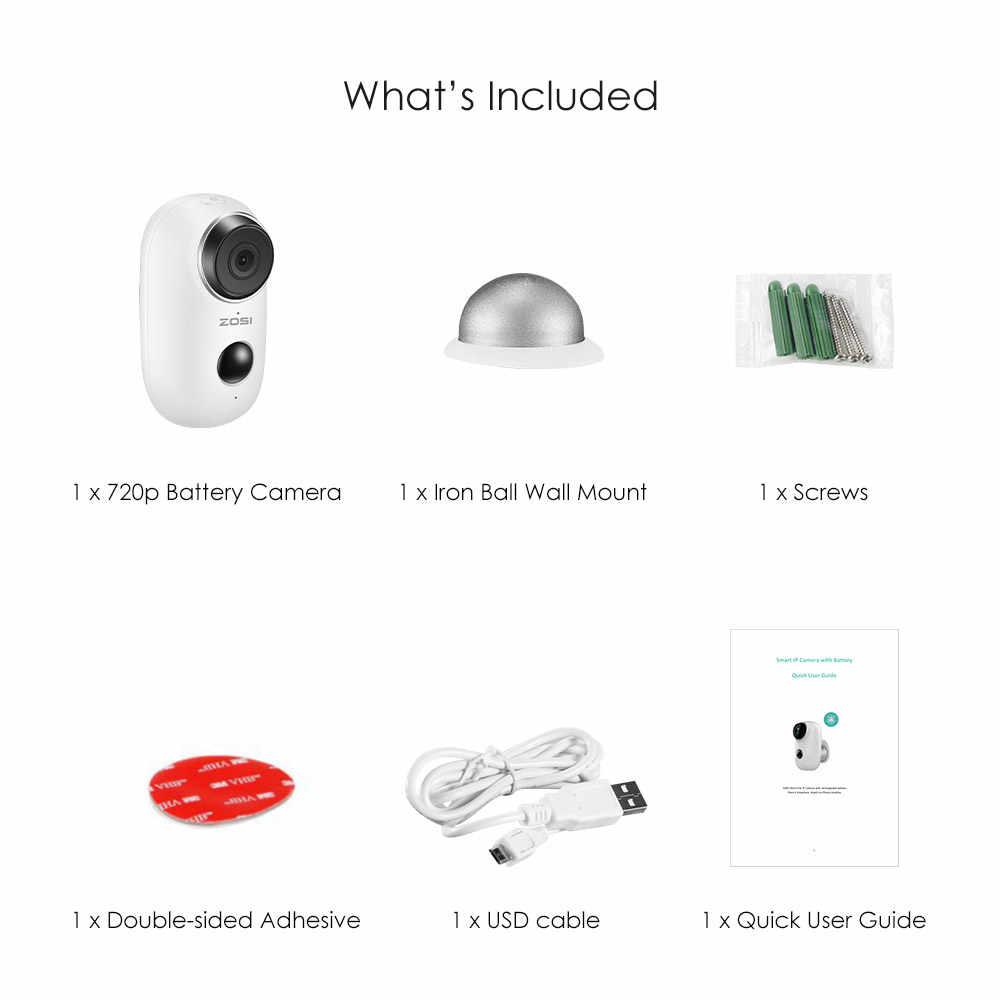 ZOSI 100% безпроводная батарея ip-камера WiFi аккумуляторная батарея с питанием от 720P Full HD наружная домашняя беспроводная ip-камера безопасности