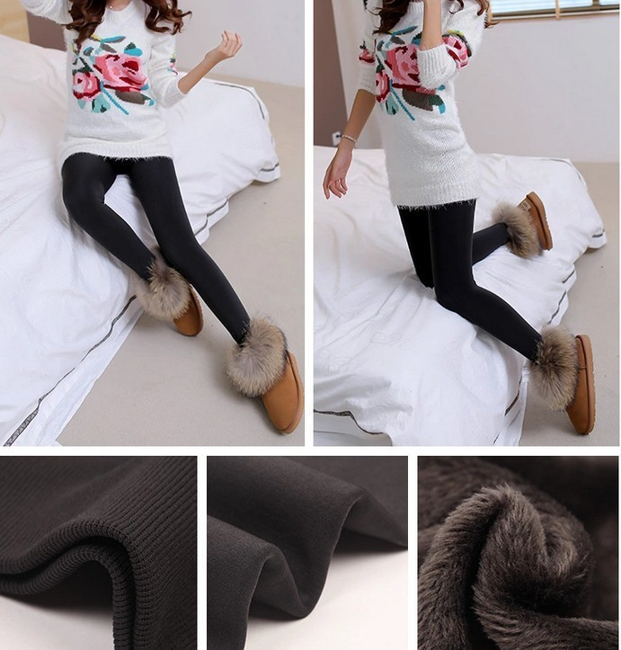 CHRLEISURE New Winter Thick Velvet Pants Female Warm Outer Wear High Waist Pants Were Thick Stretch Pants Stepped Foot legging 12