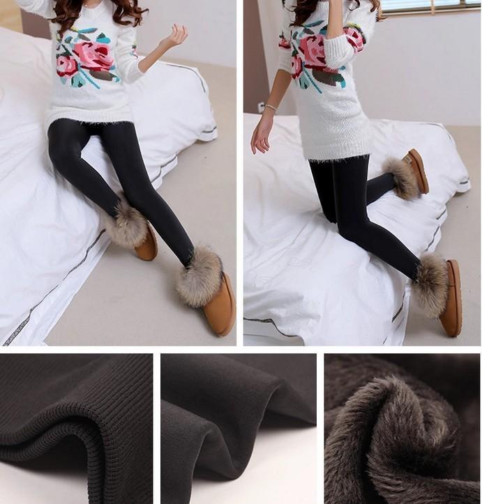 CHRLEISURE Warm Women's Plus Velvet Winter Leggings Ankle-Length Keep Warm Solid Pants High Waist Large Size Women Leggings 17