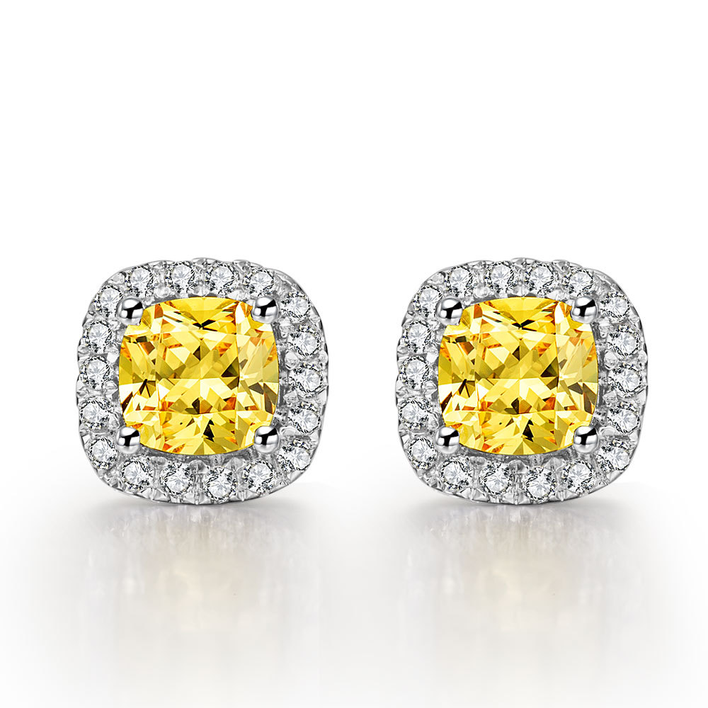 Piece Cushion Cut Solid 18k White Gold Women Earrings Yellow  Synthetic Diamond Wedding Earrings Stud With Box