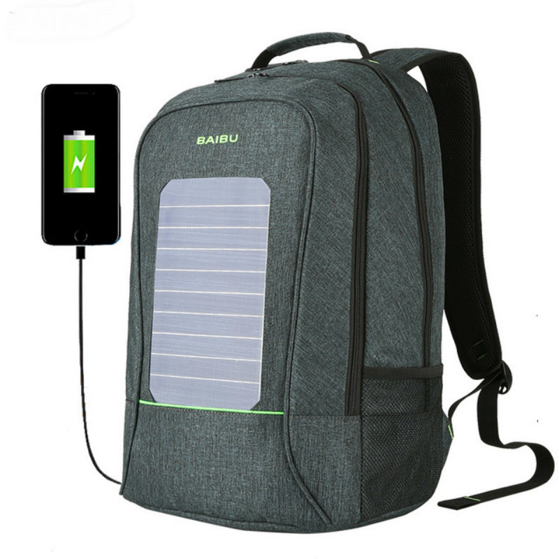 Men Backpack Fashion Waterproof  Laptop Backpack 10W Solar Powered Backpack Usb Charging Anti-Theft Notebook Bag For Teenagers