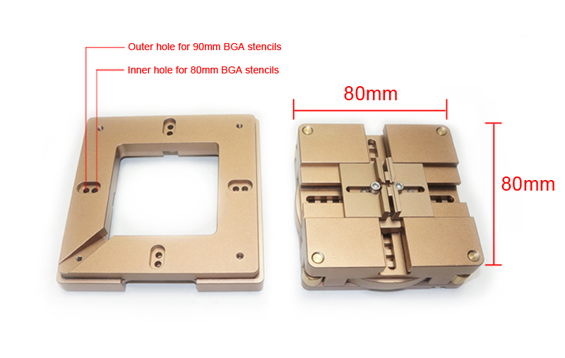 80mm/ 90mm BGA Reballing Station with magnet, auto adjust, the best reballing station with 4pcs universal stencils for free