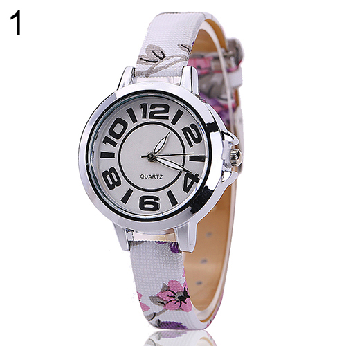 Hot Sales Girl's Big Number Dial Fine Faux Leather Colorful Floral Band Quartz Wrist Watch faux leather number wrist watch