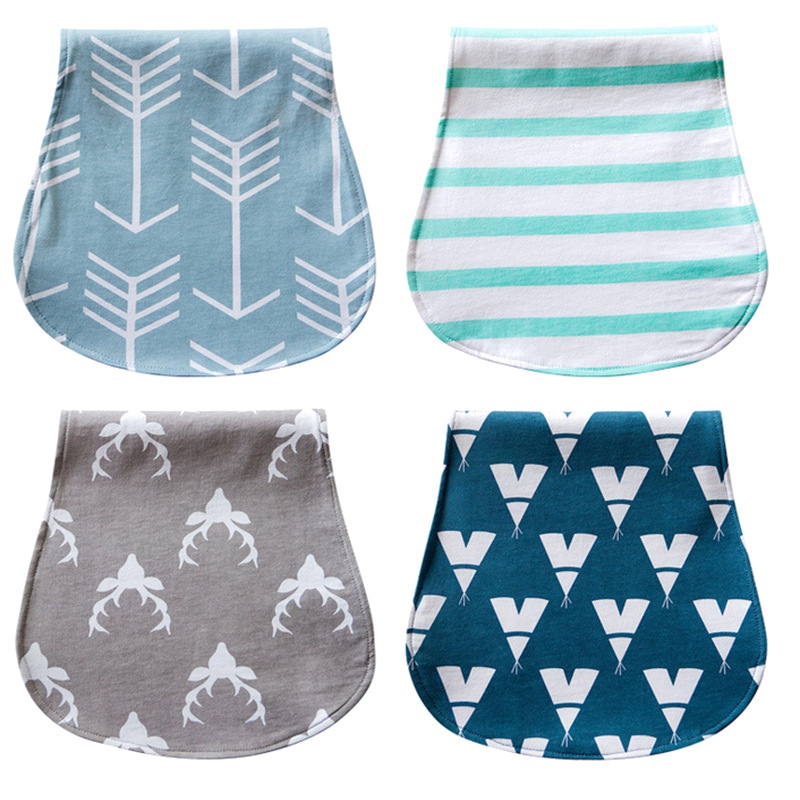 Waterproof Burp Cloths Burpy Bib Set 4 Pack made from Organic Cotton Baby Bib