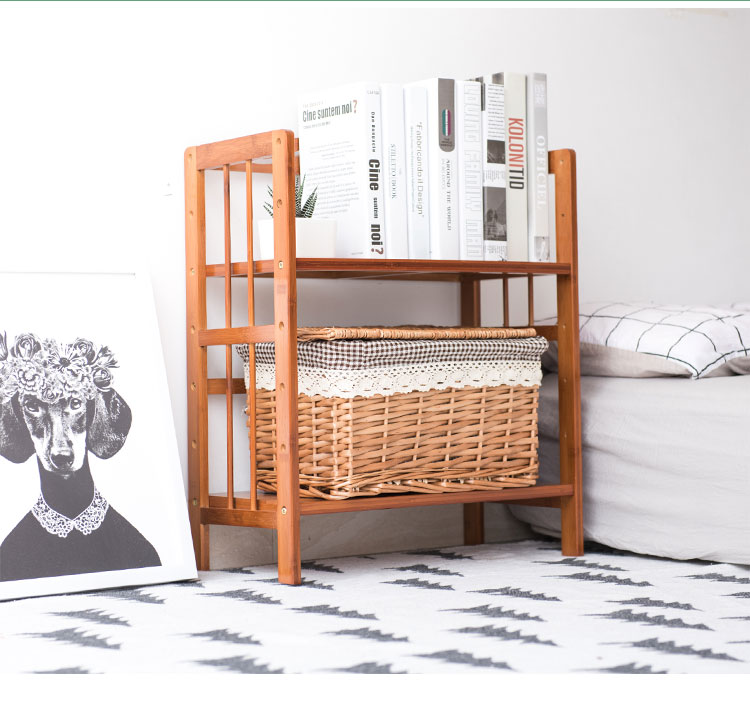 50cm Pelajar Meja rak buku Rak buku kayu buluh Mudah Multi-fungsi - Perabot - Foto 5