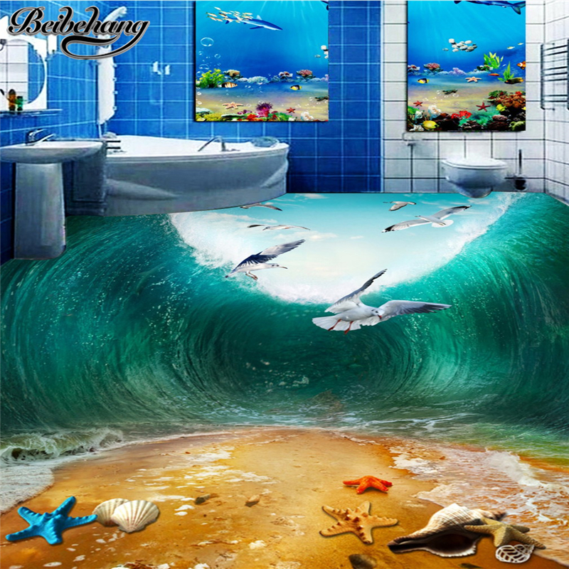 beibehang Custom large wallpaper 3D living room floor stereo shock waves seabird beach toilet bathroom bedroom 3d floor painting бра kolarz pisani kristall 1301 61 3 spt 0112 s01 r