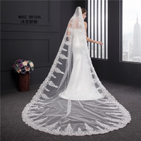 Wedding Veil 3.5 Meters Length 1.8M Width Real Image 2016 Crystals Rhinestones Lace BlingBling Cathedral Bridal Veils with Comb