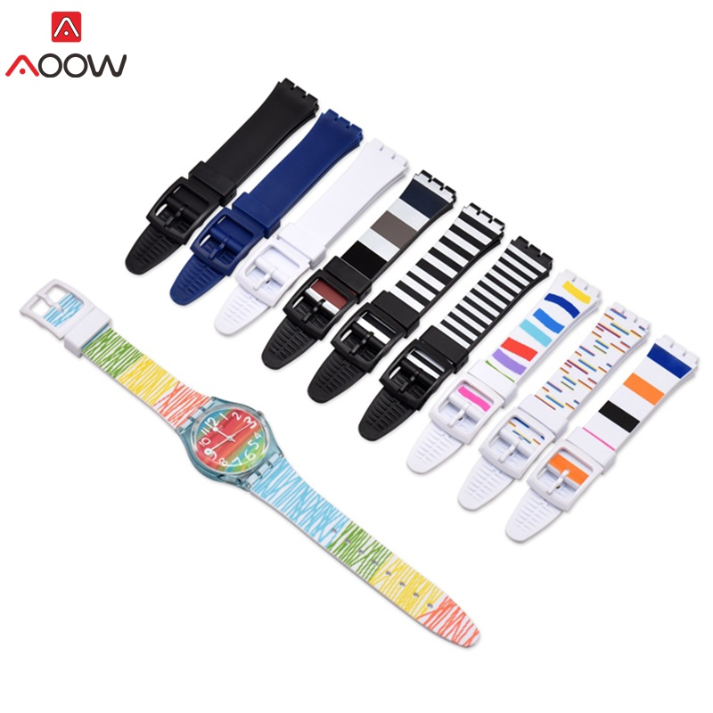 AOOW Watch Accessories For Swatch Strap Silicone Waterproof Watchband 16mm 17mm 19mm Watch Replacement Belts