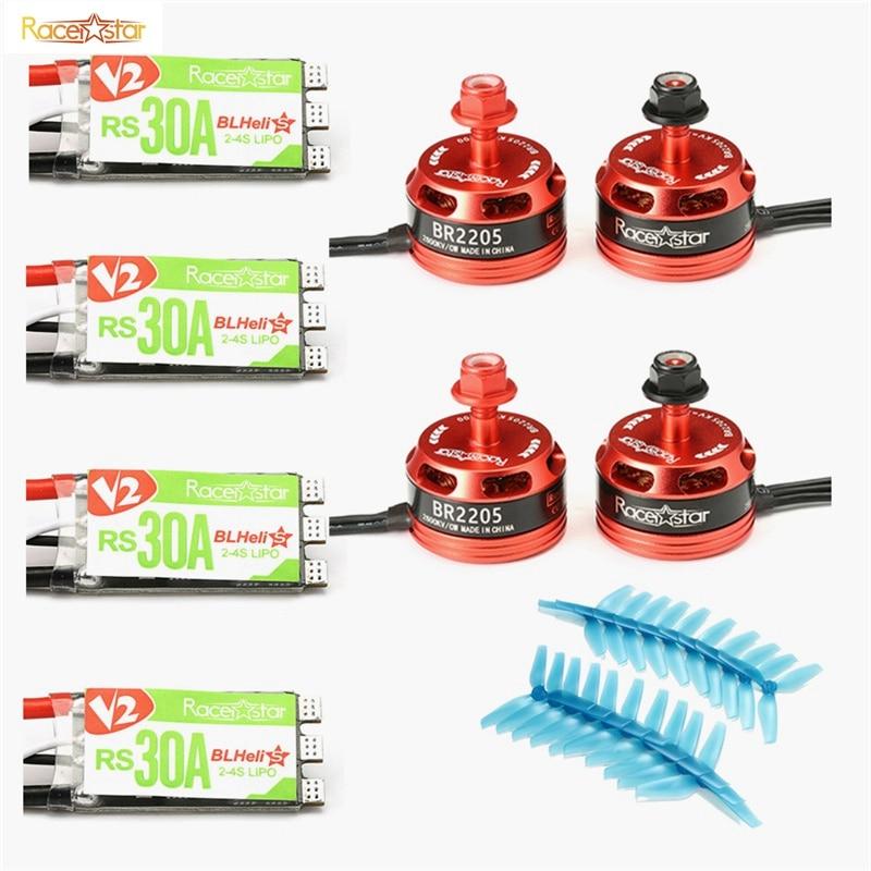 Best Deal Racerstar 2205 BR2205 2600KV 2-4S Brushless Motor + RS30A V2 30A Blheli_S ESC Dshot600 + 5042 3 Blade Propellers Set lhi fpv 4x mt2206 2300kv cw ccw fpv brushless motor 2 4s 4 pcs racerstar rs20a lite 20a blheli s bb1 2 4s brushless esc