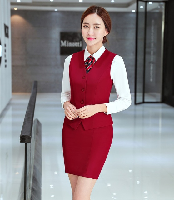 Formal Ladies Red Waistcoat Womens Business Suits With 2 Piece Skirt