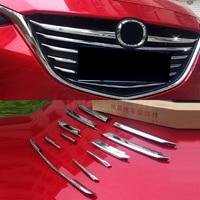 Front grille trims lane legend case for Mazda 3 Axela 2014 2018,ABS chrome,11pcs/set ,auto accessories 2015 2016 2017