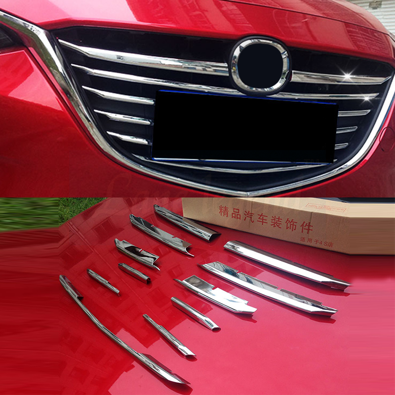 Front Grille Trims Lane Legend Case For Mazda 3 Axela 2017 2018 Abs Chrome 11pcs Set Auto Accessories 2016