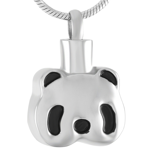 IJD9382 SilverGoldRose Gold PANDA Cremation Urn Necklace Hold Pet