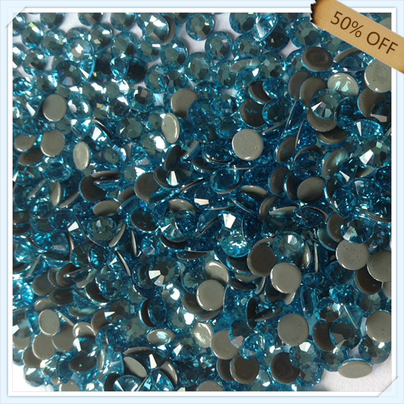 super shiny flatback 50% off free shipping size ss6 2.1mm AQUAMARINE color with 1440 pcs each pack ; diamond stone