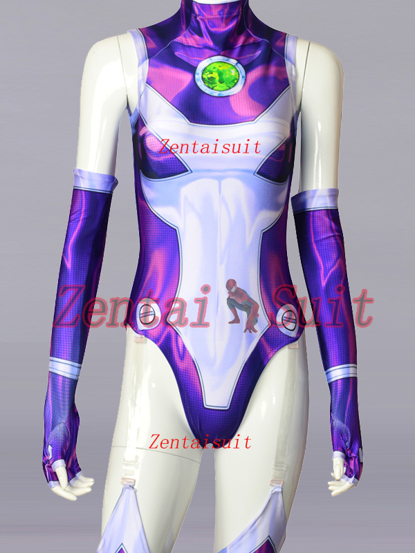 New Style Starfire Teen Titans Costume Spandex 3D Printing Starfire Superhero Costumes Cosplay Zentai Suit For