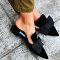 Open-Back Lazy Shoes Woman Leather Flat Loafers Pointed Toe Slipper Bow Single Shoes Black Gladiator Sandals Women Zapatos Mujer