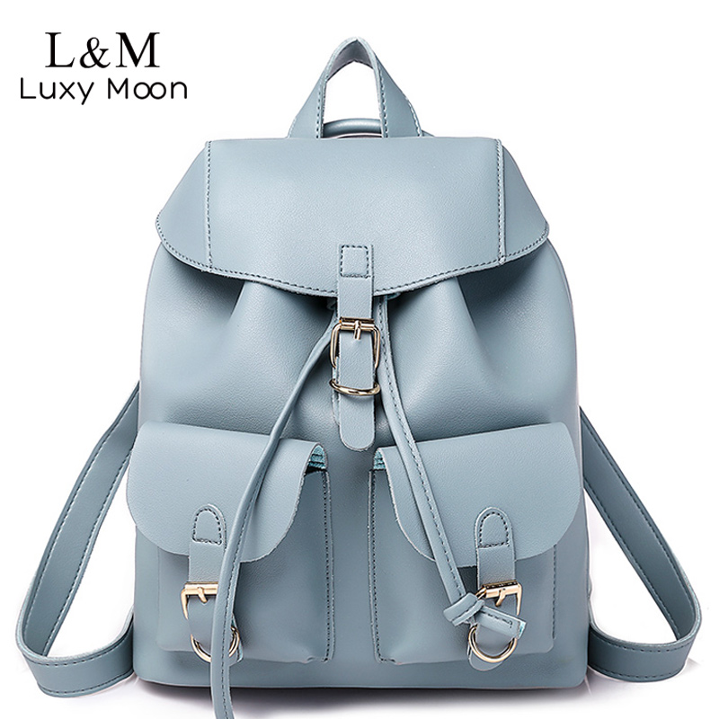 Women Drawstring Leather Backpack Female Solid School Bag Brown Backpacks Brand Shoulder Bags For Teenage Girls Rucksack XA28H