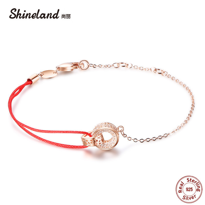 Shineland Red String Bracelet Double Round Hollow With Zircon 100% Real 925 Sterling Silver Link Chain Rope Bracelet for Women france popular jewelry 925 sterling silver handcuffs bracelet for men women with rope zircon silver pendant bracelet menottes