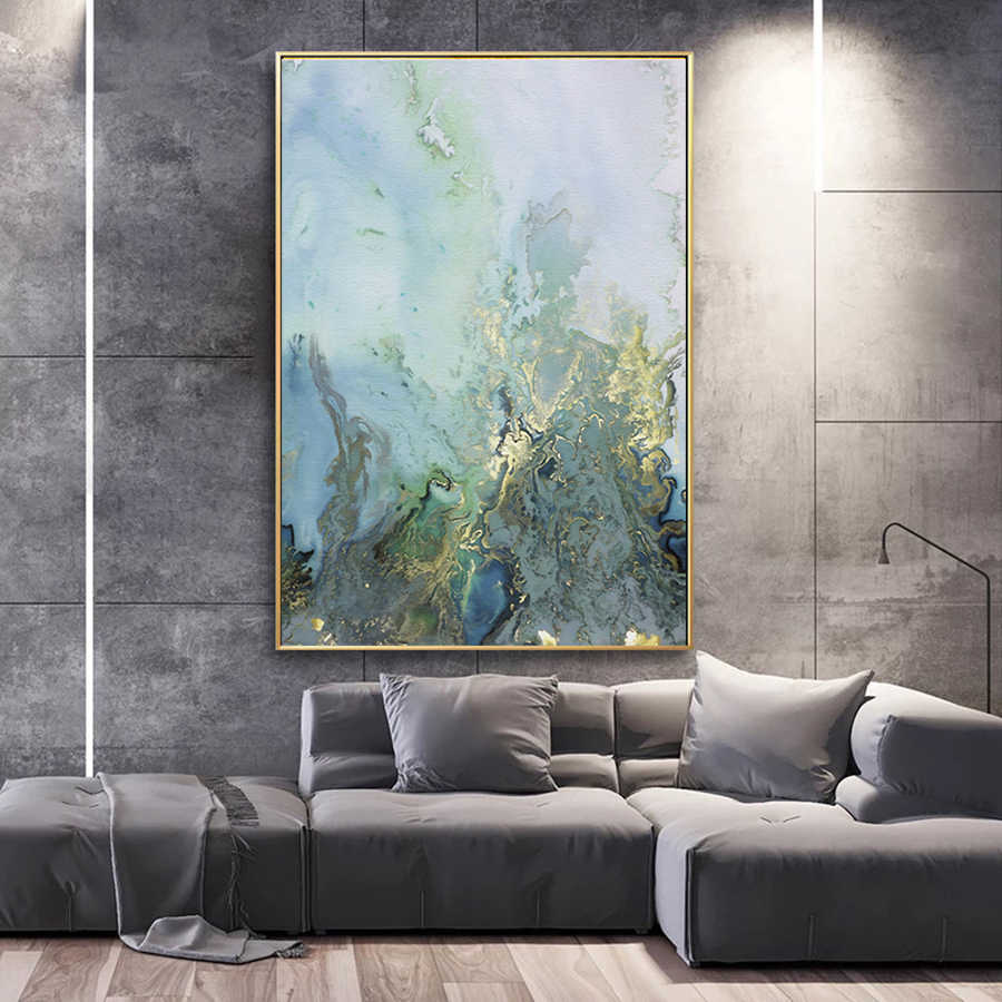 Marble Wall Art Canvas Painting Abstract Pictures Blue and White Canvas Art Posters and Prints Modern Home Living Room Decor