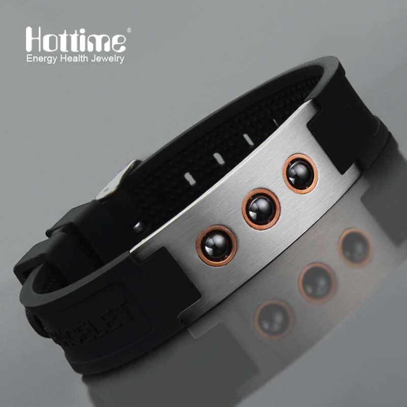 Hottime Multicolor Power 1000 ions Sports Titanium Steel Bracelet Wrist Band Improve Sleeping 4in1 Energy Bracelets