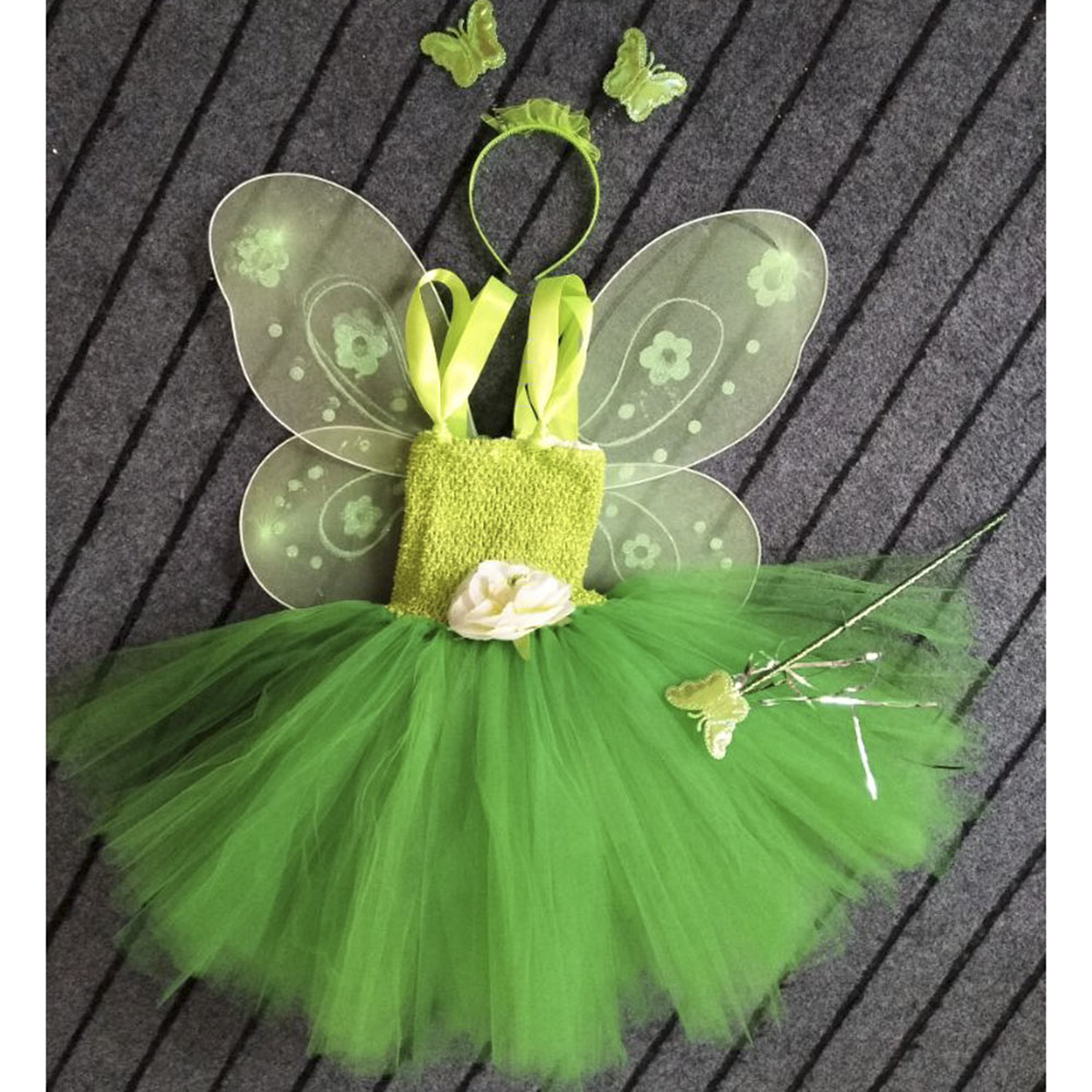 Tinkerbell Girl Magic Fairy Birthday Party Dress Child Princess Pixie Cosplay Tutu Dresses With Wing Halloween Custom For Gilrs fairy tale dress kids halloween princess cosplay dress