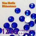 Free Shipping Nail Art Rhinestone Sapphire Color SS12(3.0-3.2mm) 1440pcs/pack Non Hotfix Flatback Crystal Stones