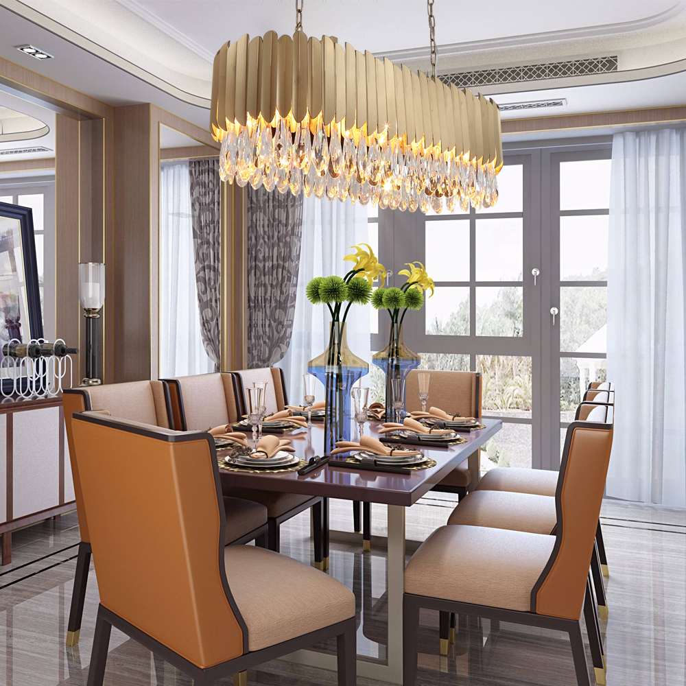 Us 869 55 15 offyoulaike oval modern crystal chandelier dining room gold stainless steel light fixtures luxury led indoor lighting in chandeliers