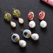 Ethnic Style Embroidery Cloth Ball Stud Earrings Pattern Design Earings For Women Korea Jewelry New 2019 Oorbellen